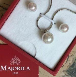 NWT! Majorica Sterling/Pearl set!